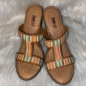 Born Slip On Wedge Sandals Size 8